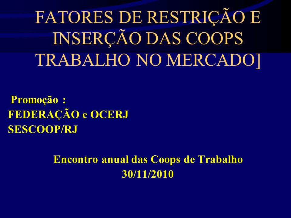 FATORES DE RESTRIÇÃO E INSERÇÃO DAS COOPS TRABALHO NO MERCADO]